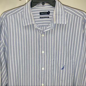 Nautica Blue Gold Stripe Button Down Long Sleeve